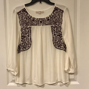 Altar'd State Flowy Top with Burgundy Embroidery